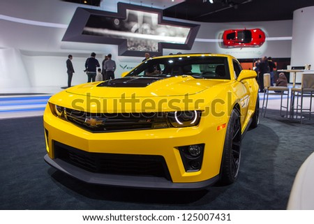 DETROIT - JANUARY 15 : The Chevy Camaro ZL1 on display at The North American International Auto Show  January 15, 2013 in Detroit, Michigan. - stock photo
