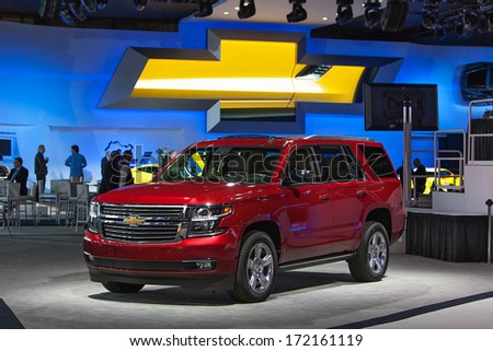 DETROIT - JANUARY 13 : The 2015 Chevy Tahoe on display at the North American International Auto Show media preview  January 13, 2014 in Detroit, Michigan. - stock photo