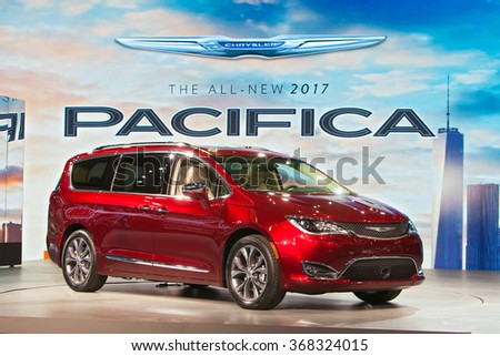 DETROIT - JANUARY 12: The 2017 Chrysler Pacifica on display at the North American International Auto Show media preview January 12, 2016 in Detroit, Michigan. - stock photo