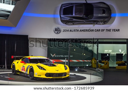 DETROIT - JANUARY 16 : The Corvette C7R on display at the North American International Auto Show media preview  January 16, 2014 in Detroit, Michigan. - stock photo
