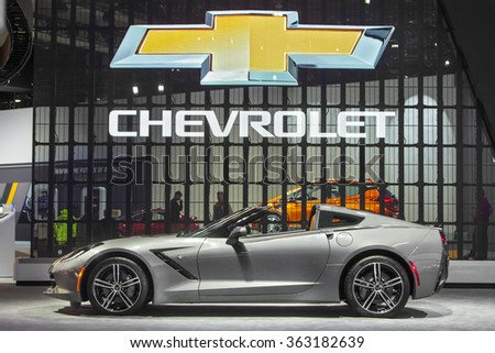 DETROIT - JANUARY 13 : The 2016 Corvette Stingray Convertible on display at the North American International Auto Show media preview January 13, 2016 in Detroit, Michigan. - stock photo