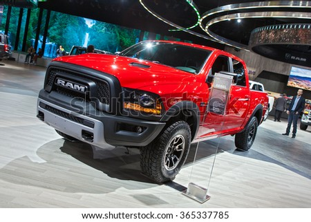 DETROIT - JANUARY 12: The Dodge Ram 1500 Rebel truck on display at the North American International Auto Show media preview January 12, 2016 in Detroit, Michigan. - stock photo