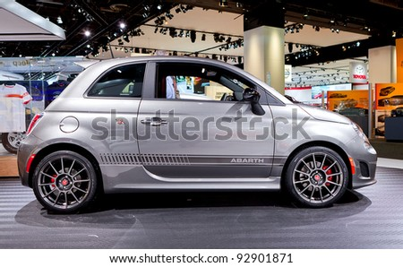 DETROIT - JANUARY 11: The 2013 Fiat Abarth at the 2012 North American International Auto Show Industry Preview on January 11, 2012 in Detroit, Michigan. - stock photo
