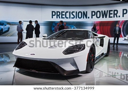 DETROIT - JANUARY 11: The 2017 Ford GT supercar on display at the North American International Auto Show media preview January 13, 2016 in Detroit, Michigan. - stock photo