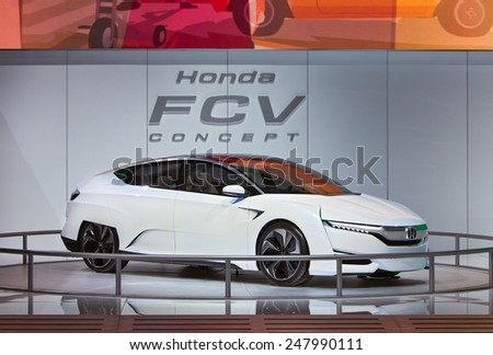 DETROIT - JANUARY 12: The Honda FCV Fuel Cell concept vehicle on display January 12th, 2015 at the 2015 North American International Auto Show in Detroit, Michigan. - stock photo