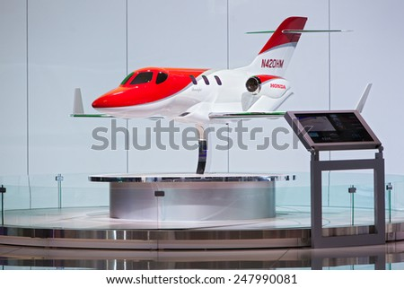 DETROIT - JANUARY 13: The Honda Jet model on display January 13th, 2015 at the 2015 North American International Auto Show in Detroit, Michigan. - stock photo
