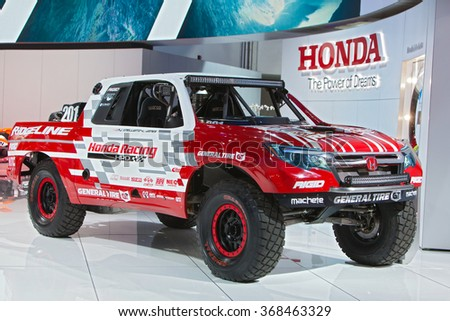DETROIT - JANUARY 12: The Honda Ridgeline racing truck on display at the North American International Auto Show media preview January 12, 2016 in Detroit, Michigan. - stock photo