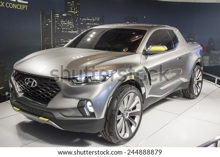 DETROIT - JANUARY 13 :The Hyundai Santa Cruz Crossover Concept at The North American International Auto Show January 13, 2015 in Detroit, Michigan. - stock photo