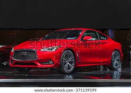 DETROIT - JANUARY 12: The 2016 Infiniti Q60S on display at the North American International Auto Show media preview January 12, 2016 in Detroit, Michigan. - stock photo