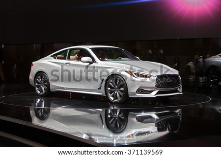 DETROIT - JANUARY 12: The Infiniti Q60S  on display at the North American International Auto Show media preview January 12, 2016 in Detroit, Michigan. - stock photo