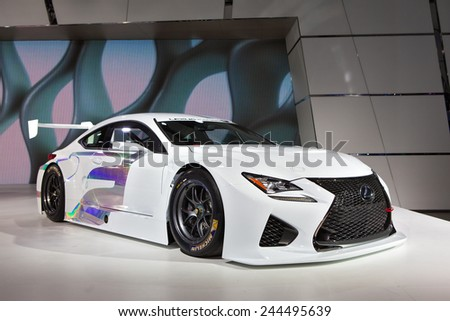 DETROIT - JANUARY 13: The Lexus Racing race car on display January 13th, 2015 at the 2015 North American International Auto Show in Detroit, Michigan. - stock photo