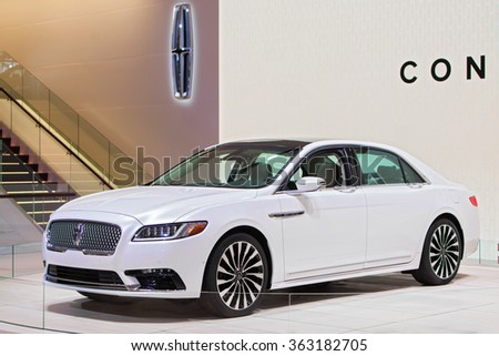 DETROIT - JANUARY 13 : The 2017 Lincoln Continental on display at the North American International Auto Show media preview January 13, 2016 in Detroit, Michigan.