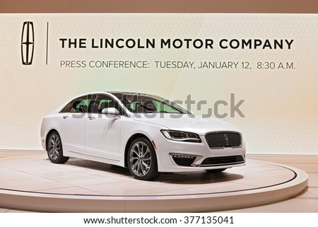 DETROIT - JANUARY 11: The 2017 Lincoln Continental on display at the North American International Auto Show media preview January 11, 2016 in Detroit, Michigan. - stock photo
