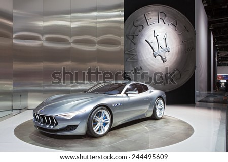 DETROIT - JANUARY 13: The Maserati 2+2 Alfieri design January 13th, 2015 at the 2015 North American International Auto Show in Detroit, Michigan. - stock photo