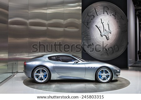 DETROIT - JANUARY 13: The Maserati Alfieri on display January 13th, 2015 at the 2015 North American International Auto Show in Detroit, Michigan. - stock photo