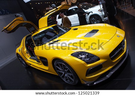 DETROIT - JANUARY 15 : The Mercedes Benz AMG SLS at The North American International Auto Show  January 15, 2013 in Detroit, Michigan. - stock photo