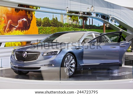 DETROIT - JANUARY 15: The new Buick Avenir sedan on display January 13th, 2015 at the 2015 North American International Auto Show in Detroit, Michigan. - stock photo