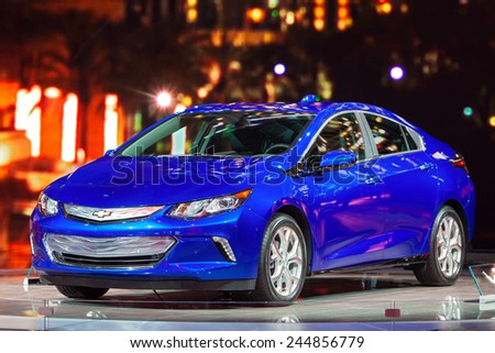 DETROIT - JANUARY 15: The new 2016 Chevy Volt on display January 15th, 2015 at the 2015 North American International Auto Show in Detroit, Michigan. - stock photo