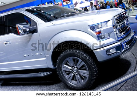 DETROIT - JANUARY 27 :The new Ford Atlas concept pickup truck at The North American International Auto Show January 27, 2013 in Detroit, Michigan. - stock photo