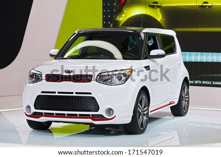 DETROIT - JANUARY 14 : The new Kia Soul on display at the North American International Auto Show media preview  January 14, 2014 in Detroit, Michigan. - stock photo