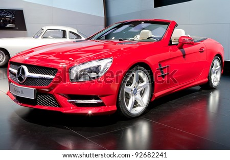 DETROIT - JANUARY 11: The new Mercedes Benz SL at the 2012 North American International Auto Show Industry Preview on January 11, 2012 in Detroit, Michigan. - stock photo