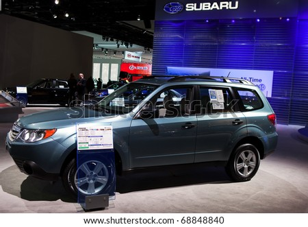 DETROIT - JANUARY 10: The new Subaru Forester at the 2011 North American International Auto Show Press Preview on January 10, 2011 in Detroit, Michigan.