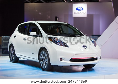 DETROIT - JANUARY 15: The Nissan Leaf on display January 15th, 2015 at the 2015 North American International Auto Show in Detroit, Michigan. - stock photo