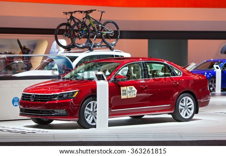 DETROIT - JANUARY 13: The 2016 Passat on display at the North American International Auto Show media preview January 13, 2016 in Detroit, Michigan. - stock photo