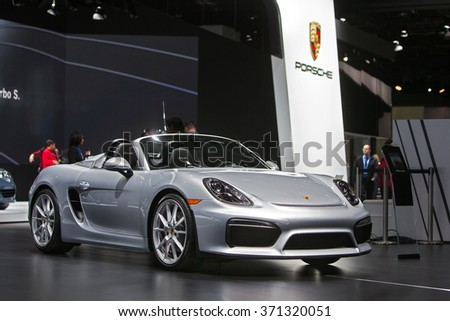 DETROIT - JANUARY 12: The 2016 Porsche Boxster on display at the North American International Auto Show media preview January 12, 2016 in Detroit, Michigan. - stock photo