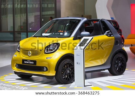 DETROIT - JANUARY 12: The 2016 Smart Fortwo Cabrio on display at the North American International Auto Show media preview January 12, 2016 in Detroit, Michigan. - stock photo