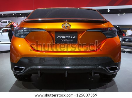DETROIT - JANUARY 15 : The Toyota Corolla Furia Concept rear view at The North American International Auto Show  January 15, 2013 in Detroit, Michigan. - stock photo