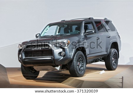 DETROIT - JANUARY 14: The 2017 Toyota Four Runner on display at the North American International Auto Show media preview January 14, 2016 in Detroit, Michigan.