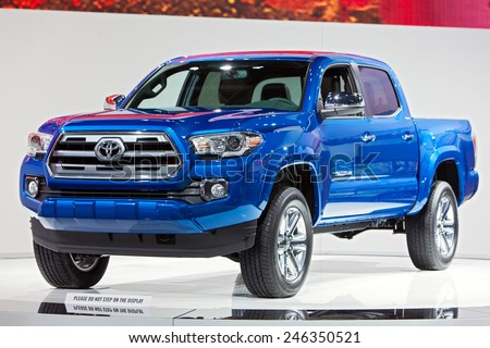 DETROIT - JANUARY 15: The Toyota Tacoma truck on display January 15th, 2015 at the 2015 North American International Auto Show in Detroit, Michigan. - stock photo