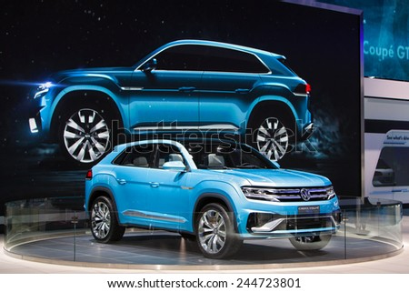 DETROIT - JANUARY 15: The Volkswagen Cross Coupe on display January 13th, 2015 at the 2015 North American International Auto Show in Detroit, Michigan. - stock photo