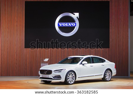 DETROIT - JANUARY 13: The 2016 Volvo S90 on display at the North American International Auto Show media preview January 13, 2016 in Detroit, Michigan. - stock photo
