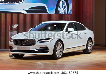 DETROIT - JANUARY 13: The Volvo s90 on display at the North American International Auto Show media preview January 13, 2016 in Detroit, Michigan. - stock photo