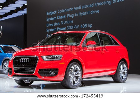 DETROIT - JANUARY 14 : The world premeire of the new Audi A3 at the North American International Auto Show media preview  January 14, 2014 in Detroit, Michigan. - stock photo