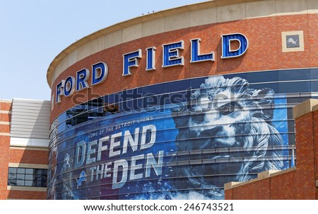 DETROIT - JULY 31: Ford Field located in Detroit, Michigan on July 31, 2014. Ford Field is an indoor American football stadium and home to the Detroit Lions of the NFL. - stock photo
