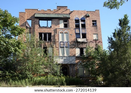 DETROIT, MI-CIRCA JANUARY 2015: Abandoned apartment homes in Detroit are being torn down at a faster rate due to a Federal grant for demolition.  - stock photo
