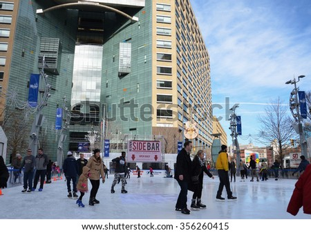 DETROIT, MI - DECEMBER 24: People skate in the rink at Campus Martius park in downtown Detroit, MI, on December 24, 2015.