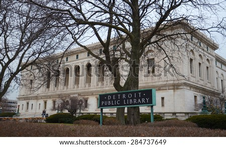 DETROIT, MI - DECEMBER 20:  The Detroit Public Library, shown on December 20, 2014, is opening a collection of former Detroit Mayor Coleman A. Young's official documents.