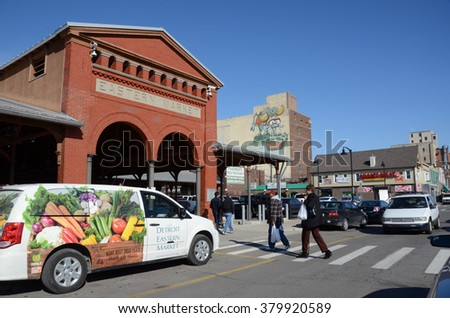 DETROIT, MI - FEBRUARY 6:  Customers enter Detroit's Eastern Market, the largest historic public market district in the United States, on February 6, 2016.
