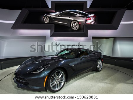 DETROIT, MI - JAN 15: An iconic 2014 Chevy Corvette Stingray on display at the North American International Auto Show, on January 15, 2013, in Detroit, Michigan. - stock photo