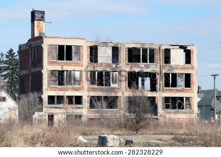DETROIT, MI-MAY, 2015:  Abandoned and looted small school building in an inner city neighborhood near downtown.     - stock photo