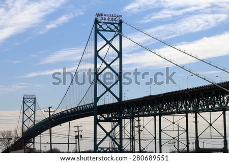 DETROIT, MI-MAY, 2015:  The Ambassador Bridge in Detroit connects the USA and Canada across the Detroit River.   - stock photo