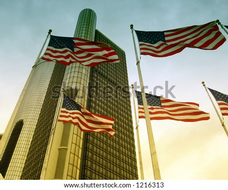 Detroit MI Michigan Motor City Downtown skyline General Motors Headquarters Renaissance Center buildings - stock photo