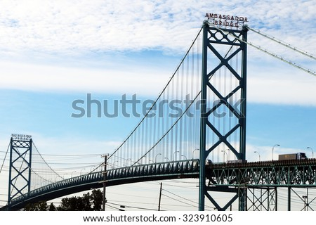 DETROIT, MI-OCTOBER, 2015: Detroit's Ambassador Bridge separates Canada from the United States. - stock photo