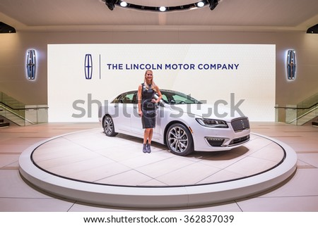 DETROIT, MI/USA - JANUARY 11, 2016: A 2017 Lincoln MKZ car at the North American International Auto Show (NAIAS), one of the most influential car shows in the world each year. - stock photo