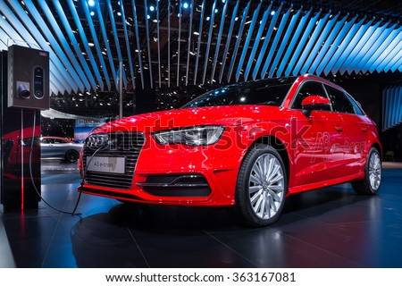 DETROIT, MI/USA - JANUARY 12, 2016: 2016 Audi A3 e-tron car at the North American International Auto Show (NAIAS), one of the most influential car shows in the world each year. - stock photo