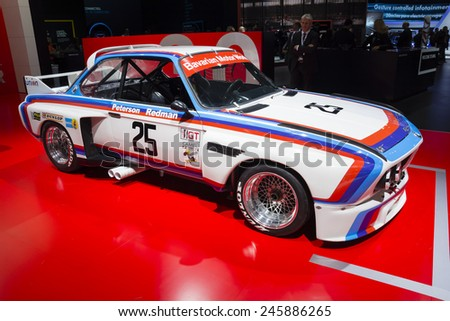 DETROIT, MI, USA - JANUARY 12, 2015: BMW 3.0 CSL race car on display during the 2015 Detroit International Auto Show at the COBO Center in downtown Detroit.